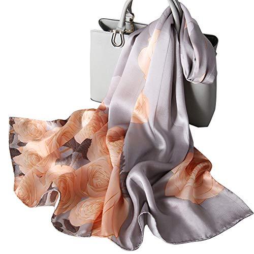 Women's Silk Scarf Fashion Sunscreen Shawls Wraps for Headscarf Neck (Yellow Flower Grey) ()