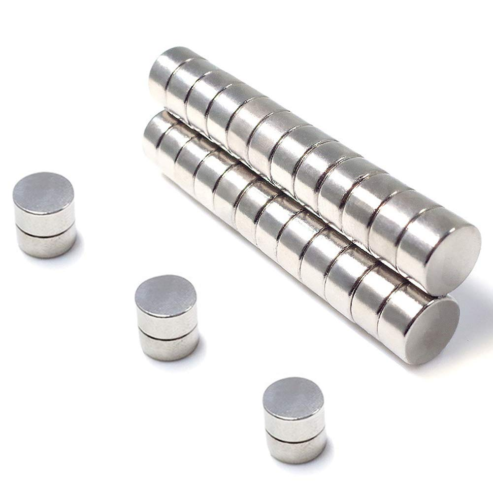"Round Magnets For Refrigerator By JACK CHLOE, 35Pcs 10MM x 3MM Stainless Steel Craft Magnet, Durable Mini Magnets For Multi-Use, Approximately 2/5"" x 1/7"""