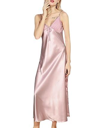 da1edb8fc71b7 Woman Simple Long Nightdress Solid Color Lace Off Shoulder Pajamas Pink XL:  Amazon.co.uk: Clothing