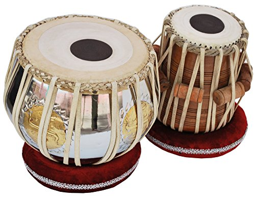 Tabla Drum Set, 2.5Kg Swastik/Shree Brass Bayan, Chrome Finish, Shesham Wood Dayan, Hand Made Drum Skin, Camel Leather Straps to Tune, Long Life, Comes with Tuning Hammer, Gig Bag, Cushion & Cover