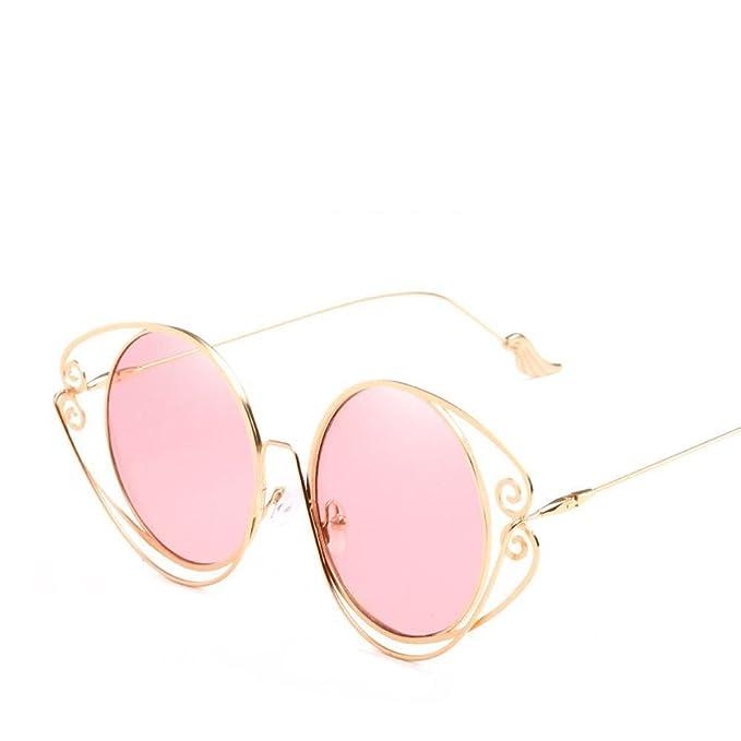 Aoligei Persönlichkeit-Sonnenbrille Runde Rahmen Geometrie unregelmäßige Metall Sonnenbrille Flügel Spiegel Bein aktuelle Sonnenbrillen Mädchen wPjKh5jpv
