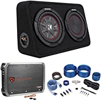Kicker 43TCWRT84 COMPRT8 8 600w Shallow Car Subwoofer+Enclosure+Amp+Wire Kit