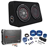 Kicker 43TCWRT84 COMPRT8 8'' 600w Shallow Car Subwoofer+Enclosure+Amp+Wire Kit