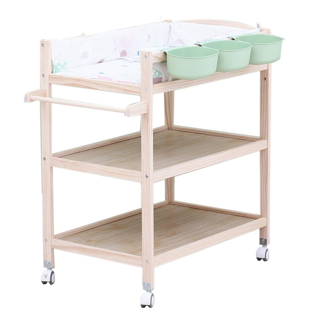 Infant Baby Changing Table Unit Rolling Massaging Station Storage Foldable Trays