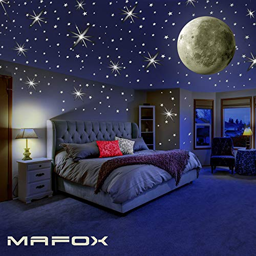 MAFOX Glow in The Dark Wall or Ceiling Stars with Moon Stickers - Luminous Decal Stickers for Simulated Moon Effect at Night - Ideal Kids Decor or Adults - Perfect Gift Kids Boys Girls Ceiling Wall Baby Nursery Room