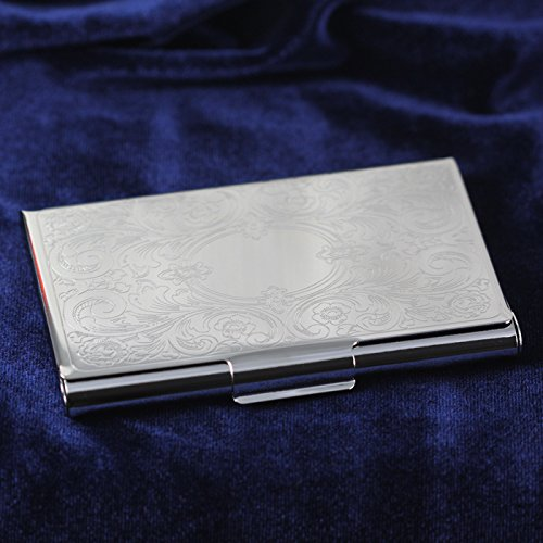 CENTER GIFTS Business Card Case with Embossed Scroll Cover Personalized | Nickel Finish Case Holder, Holds Up to 21 Cards | Great Gift for Boss, Colleague, Business, Office | Engrave with Initials (Scroll Card)