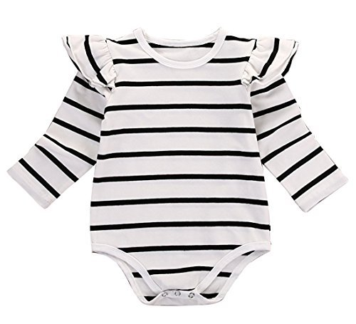 (GSHOOTS Baby Girls' Clothes Long Butterfly Sleeve Ruffled Bodysuit Fly Sleeve Romper (70 / 0-6 Months, Striped)