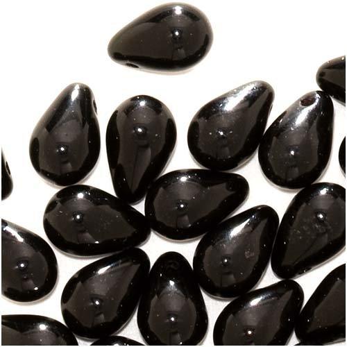 Czech Glass Beads 9mm Teardrops Jet Black (50)