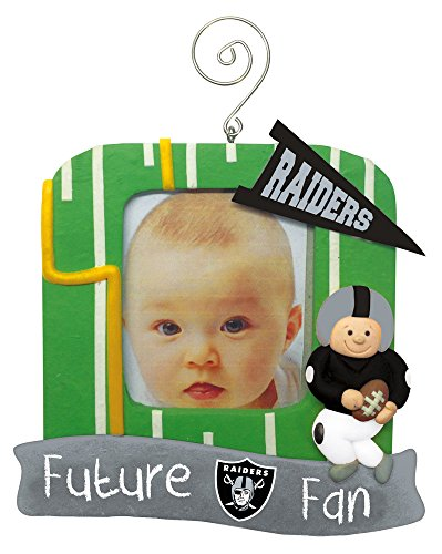 Team Sports America NFL Oakland Raiders Field Future Fan Picture Frame Christmas Ornament, Small, Multicolored