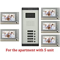 YuHan Apartment Wired 7 Inch Monitor Video Door Phone Audio Visual Intercom Entry Access System 5 Units