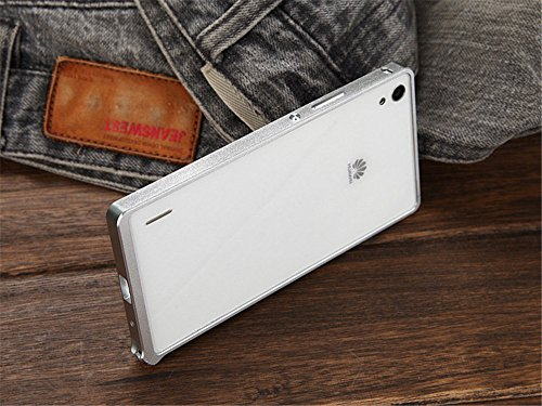 DAYJOY Luxury Ultra Thin No need screw Aluminum Alloy Protective Metal Bumper Frame Shell Shield Case Cover for HUAWEI ASCEND P7(SILVER)