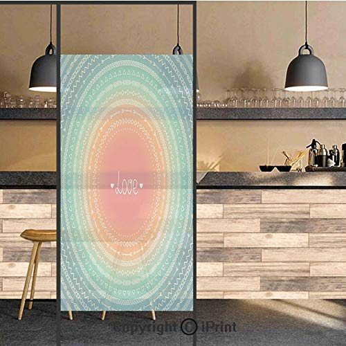3D Decorative Privacy Window Films,Geometric Round Ethnic Line Border with Tribal Eastern Motifs Infinite Love Art Print Decorative,No-Glue Self Static Cling Glass film for Home Bedroom Bathroom ()