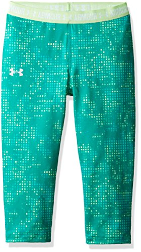 Under Armor Girls Heatgear Armour Printed Capris,Summer Lime/White, Youth X-Large by Under Armour