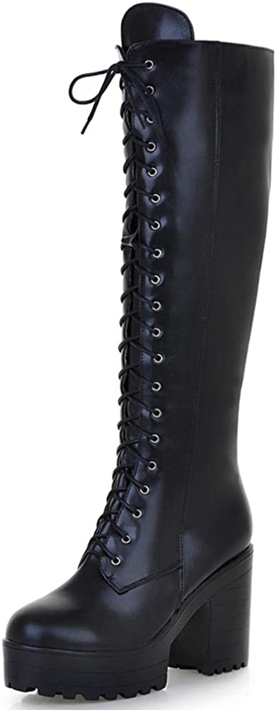 celnepho Boots for Women, Lace Up Zip Chunky High Heel Motorcycle Platform Combat Knee High Boots