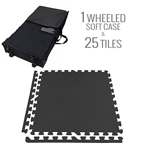 IncStores - Eco-Soft + Foam Tiles (25 Graphite Tiles with Wheeled Soft Case) Trade Show Kits ideal for 10 ft x 10 ft booth with border pieces included (Interlocking Trade Show Flooring)