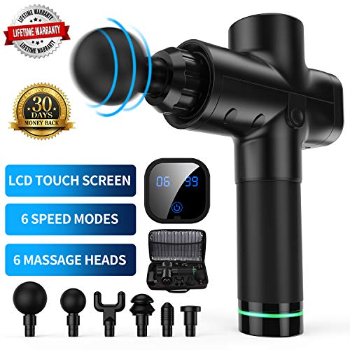 New Muscle Massager Massage Gun, Upgraded 6 Adjustable Speeds Handheld Vibration Deep Tissue Muscle Massager Device – with 6 Massage Heads and Portable Bag for Deep Muscle Tissue Massage 2019