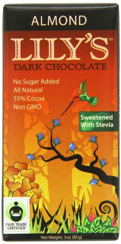 Lily's Dark Chocolate Bar with Stevia, Almond, 3 Ounce (Pack of 12)