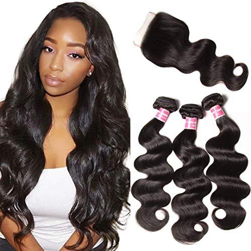 Jolia Malaysian Body Wave Bundles With Lace Closure Malaysian Virgin Hair Bundle Deals 3 Bundles Human Hair Bundles With Closure Free Part Natural Black Color (18 20 22+16 Free)