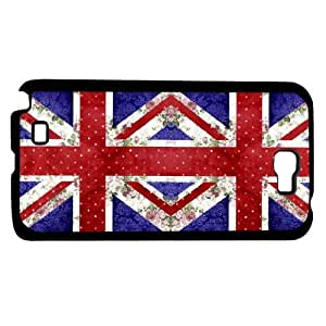 Cute Red, Blue, and Floral Double British Flag Hard Snap on Phone Case (Note 2 II)