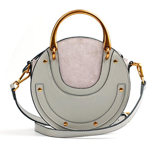 Actlure Women Genuine Cowhide Leather Round Shape Top handle Shoulder Purse Crossbody Bag (grey)
