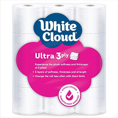 White Cloud Ultra Soft & Thick 3-Ply Toilet Paper – 24 Total Giant Rolls, 231 Sheets in line with Roll, 12 Rolls (Pack of two)