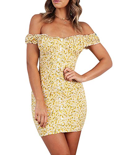 (Valphsio Women's Sleeveless Off Shoulder Button Floral Ruched Bodycon Mini Club Dress Yellow)