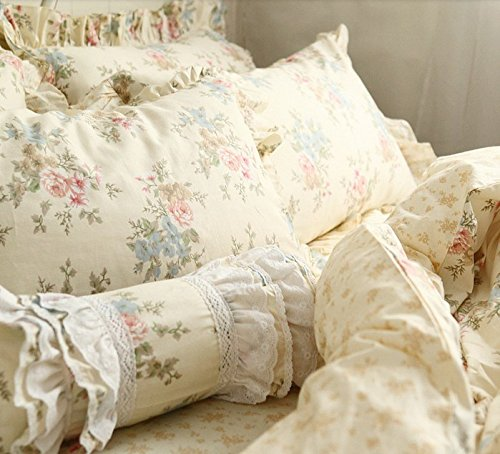 FADFAY Home Textile,Vintage Floral Print Bedding Set,Elegant French Country Style Bedding Set,4Pcs
