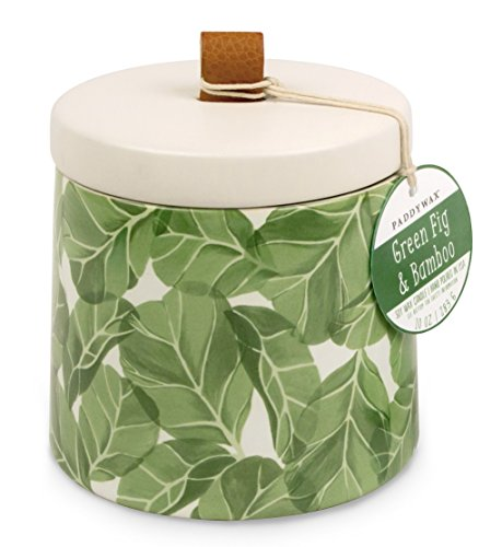 Paddywax Botany Collection Scented Soy Wax Candle, 10-Ounce, Green Fig & Bamboo - Fragranced candle in a ceramic vessel with a botanical-inspired design 10 oz of Paddywax signature soy wax Green fig and bamboo scent created with all Natural fragrances - living-room-decor, living-room, candles - 51ZPXEy1g0L -