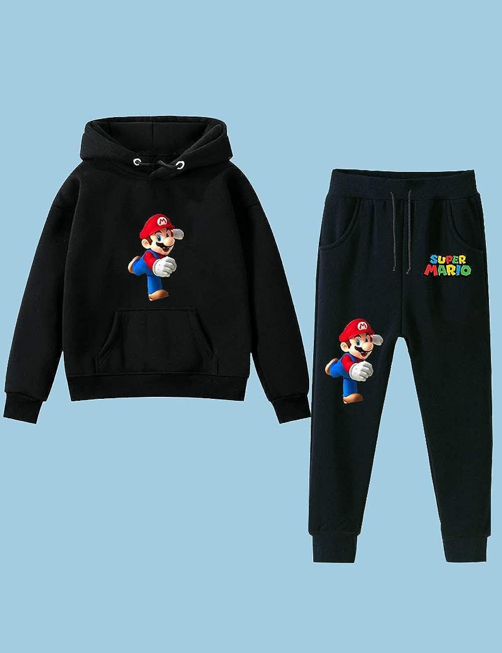 Sportiva Stile Super Mario Felpa e Pantaloni per Bambini,Super Mari Bros Manica Lunga con Cappuccio e Pantaloni per Ragazzi Ragazzi Hoodie Pullover