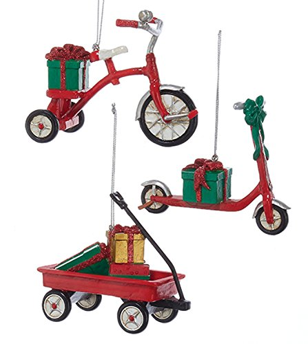 Kurt Adler Childs Toys Red Tricycle Scooter and Wagon Ornaments Set of 3