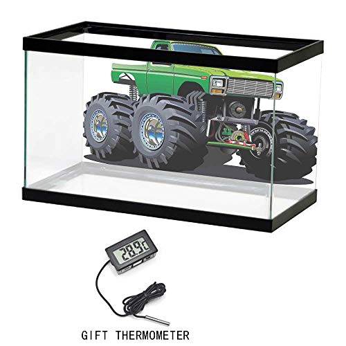 Personalized Aquarium Background Paper,Cars,Giant Monster Pickup Truck with Large Tires and Suspension Extreme Biggest Wheel Print,Green Grey,35
