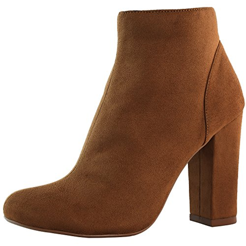 DailyShoes Womens High Heel Boots Round Toe Ankle Cowboy Bootie Perfect for Casual Day or Night Wear Brown Sv