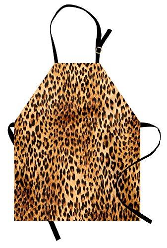 Lunarable Animal Print Apron, Wild Animal Leopard Skin Pattern Wildlife Nature Inspired Modern Illustration, Unisex Kitchen Bib Apron with Adjustable Neck for Cooking Baking Gardening, Sand Brown by Lunarable