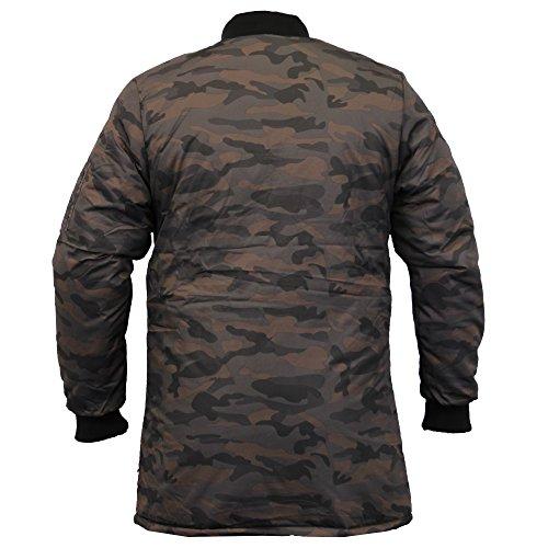 Herren MA1 Jacke Soul Star Harrington Mac Trench Gefütterte Jacke Armee Militär Winter - Grün - MA1MIDCAM, Large