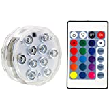 Submersible LED Lights with Remote Battery Powered, Lhomeled RGB Multi Color Changing Waterproof Light for Vase Base, Floral, Aquarium, Pond, Wedding, Halloween, Party, Christmas, Submersible Lights