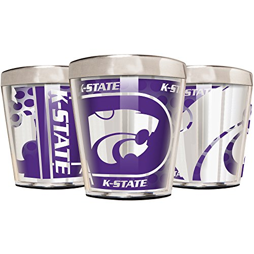 Great American Products NCAA Kansas State Wildcats Acrylic and Stainless Steel Shot Glass Set (3-Piece), 2-Ounce, Silver ()