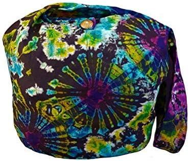 Tie Dye Sling Crossbody Shoulder Bag Purse Hippie Boho Blue Firework VK11 BTP