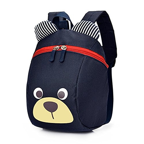 DuuToo Cute Bear Children Toddler Backpack Book Bags Baby Harness bag with Safety Harnesses Reins Belt for Kids Girls and Boys,Navy Blue