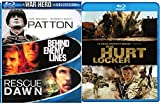 Hurt Locker War Hero Collection + Rescue Dawn Blu Ray / Patton / Behind Enemy Lines Pack Military Movie Action Set 4 Film Favorites Bundle