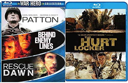 Hurt Locker War Hero Collection + Rescue Dawn Blu Ray / Patton / Behind Enemy Lines Pack Military Movie Action Set 4 Film Favorites Bundle