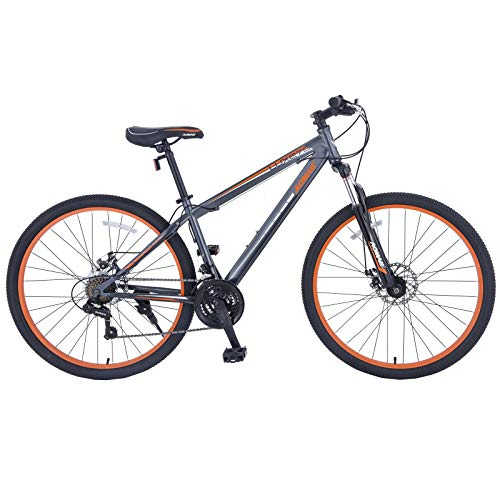 Murtisol Mountain Bike 27.5'' Hybrid Bicycle 21 Speed with Suspension/Dual Disc Brake in 4 Color,Grey Orange