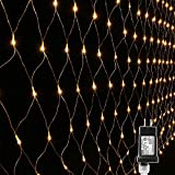 Lyhope 12ft x 5ft 360 LED Decorative Net Lights, 8 Modes Low Voltage Mesh Fairy Christmas Lights for Xmas Trees, Bushes, Wedding, Garden, Outdoor, Indoor Decor (Warm White)