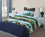 Twin Boy Cars #4 Printed Quilt Bedding Bedspread Coverlet Pillow Case Set 2Pc