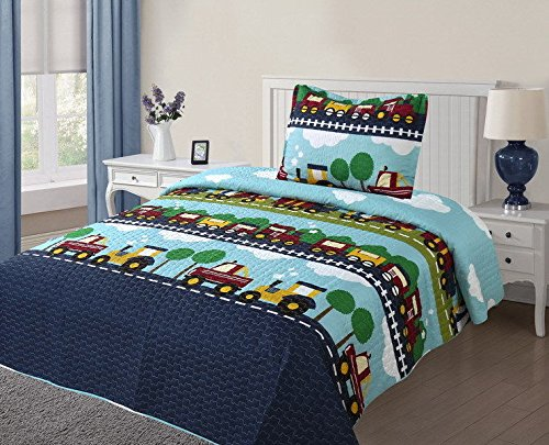 Twin Boy Cars #4 Printed Quilt Bedding Bedspread Coverlet Pillow Case Set 2Pc by Bedding Set (Image #1)