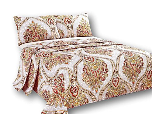 (Tache Orange Gold Paisley Flat Sheet Only - Sunshine Festival - Luxurious Microfiber Top Bed Sheet with Pillowcases - 2 Piece Set - Twin)