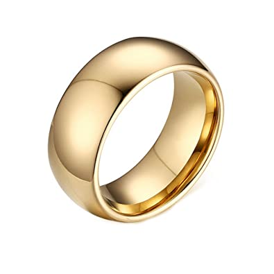 Couple Tungsten Carbide Ring Gold Finish Wedding Band Personalized