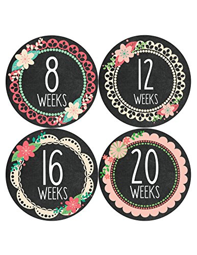 Months in Motion 914 Pregnancy Baby Bump Belly Stickers Maternity Week Sticker (White Stickers Number Inch 4)