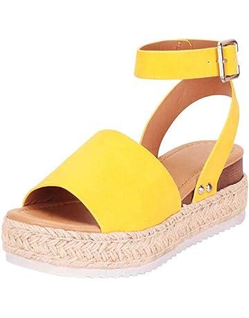 c1159de19d SSYUNO Women's Platform Sandals Espadrille Wedge Ankle Strap Studded Open  Toe Sandals Peep Toe Beach Travel