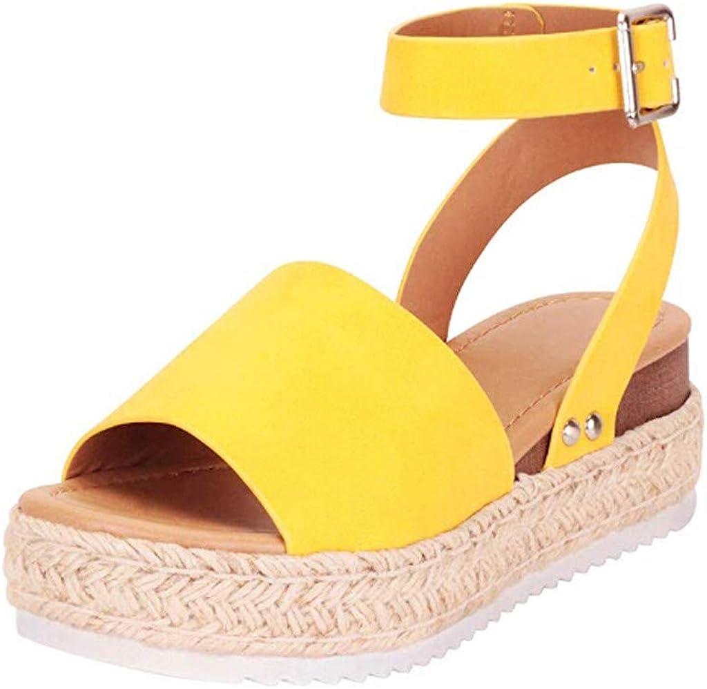Yesmile Sandalias Mujer Verano 2020, Cáñamo Fondo Grueso Sandalias Punta Abierta Cuero Fondo Plano Zapatos Bohemias Romanas Vestir Estilo Zapatillas