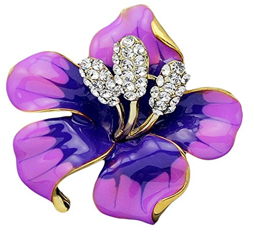 Hosaire Women's Lily Flower Brooch Pin Rhinestones Breastpin for Wedding/Banquet/Bouquet ()